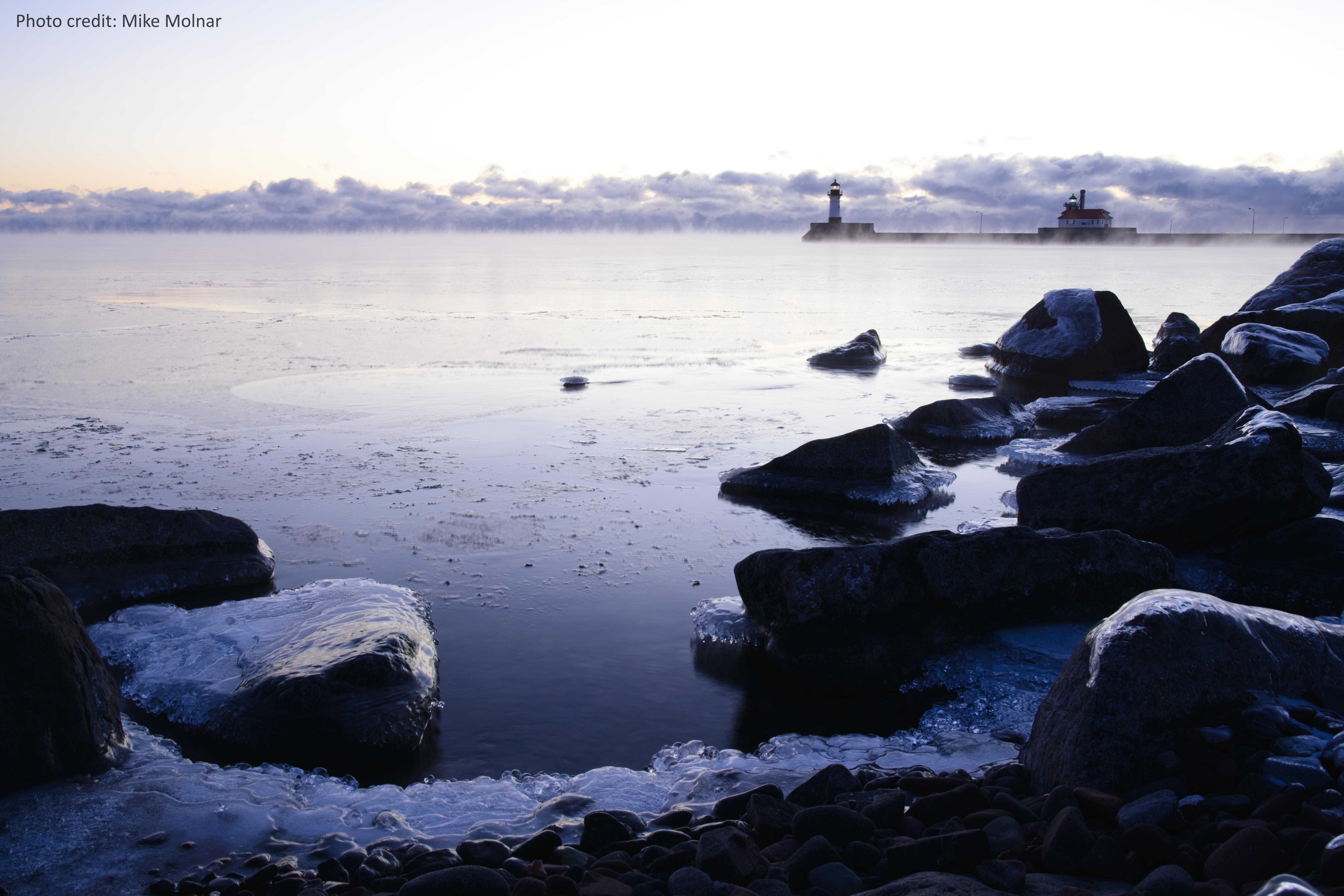 Lake Superior, Michigan, at dawn on a cold January day