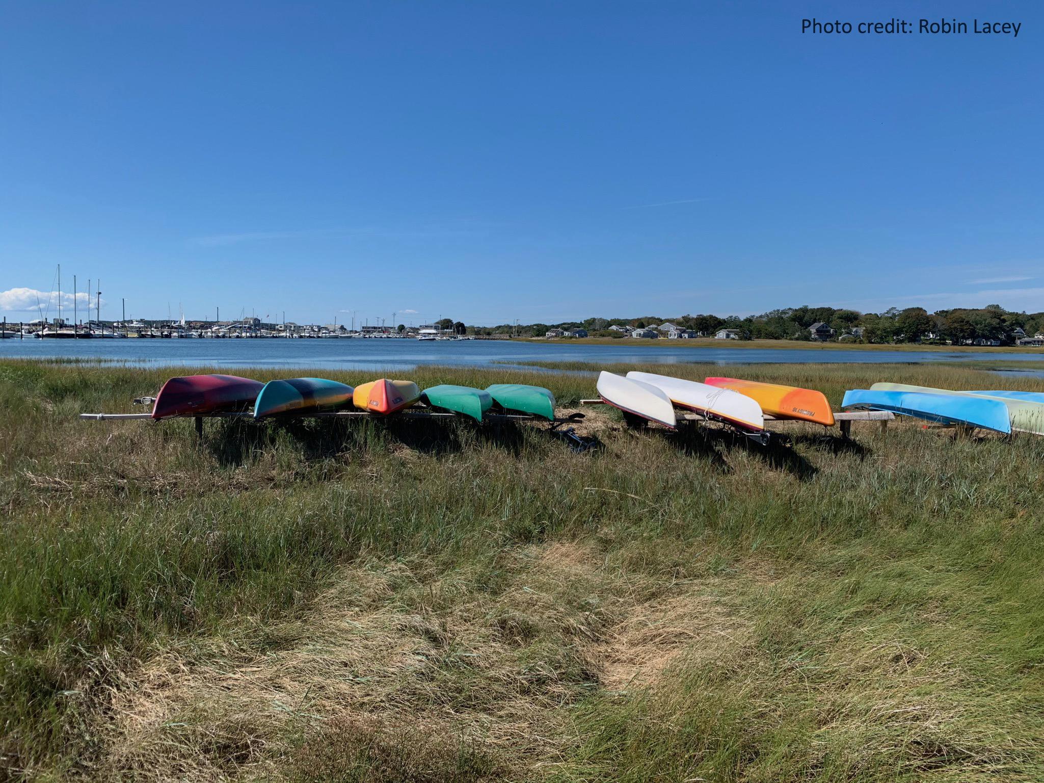 Kayaks and canoes at Wellfleet Harbor, Massachusetts