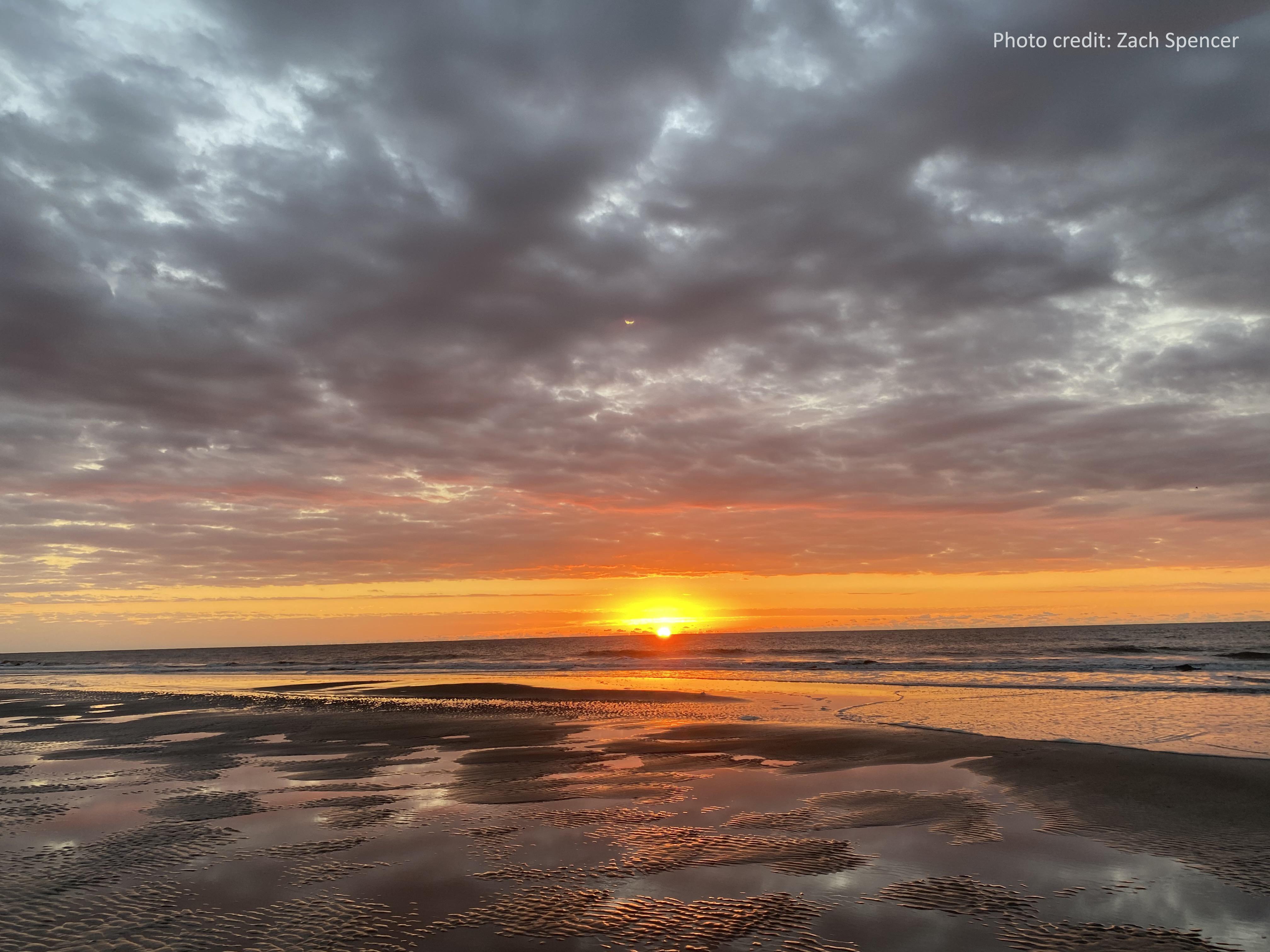 The horizon on an overcast morning on Folly Beach, South Carolina