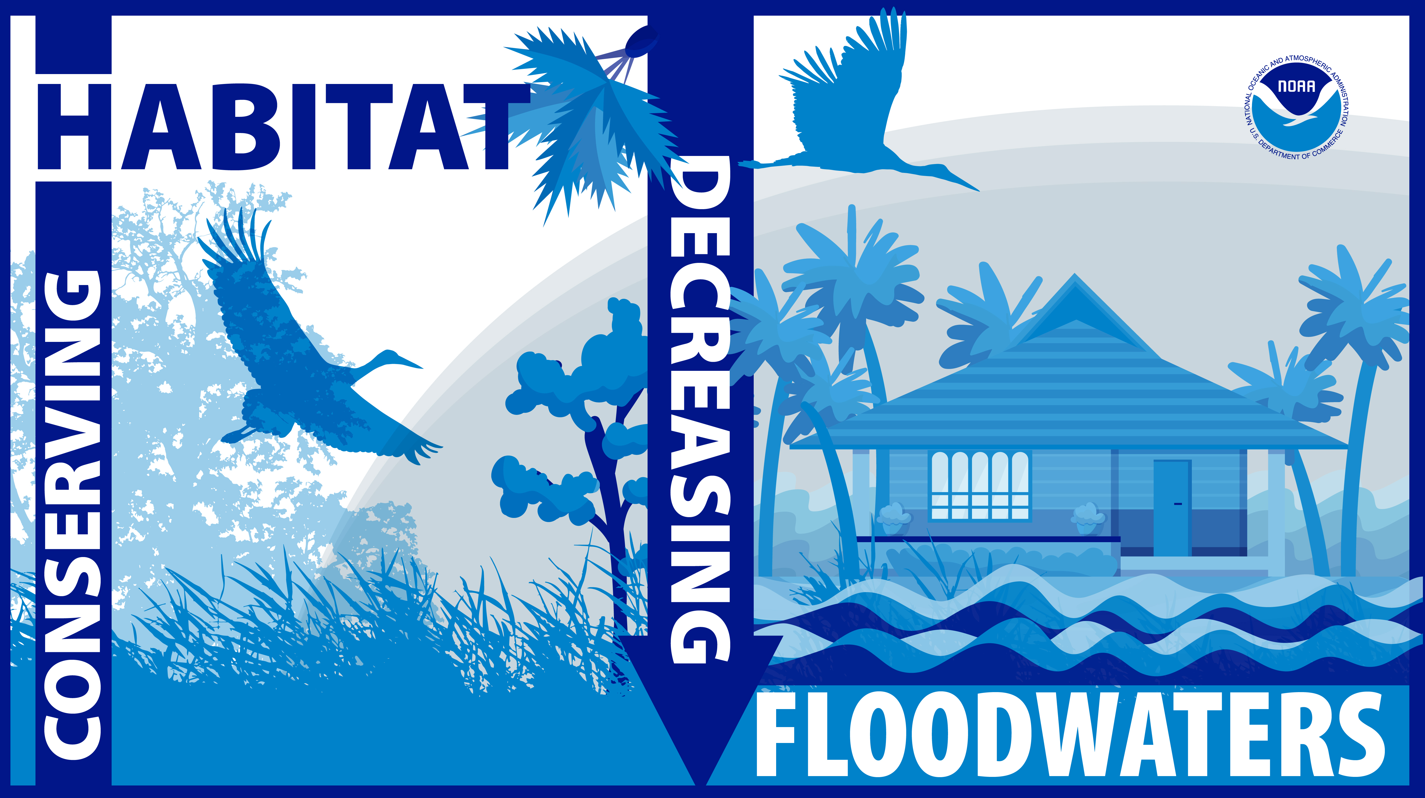 A bird is flying over a marsh and a house is seen with flooding in the foreground. Words include 'Increasing Habitat' and 'Decreasing Floodwaters.'