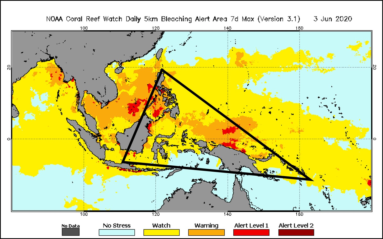 Coral Reef Watch bleaching alert on April 30, 2020 for the Coral Triangle, with the area outlined.