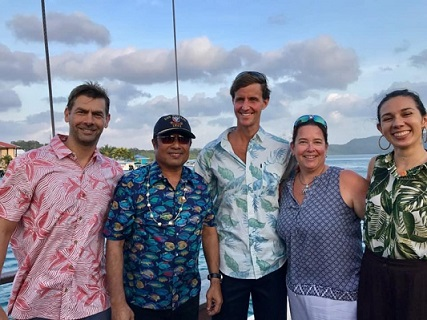 From left: NOAA Coral Reef Conservation Program staff Jason Phillibotte, President Thomas Remengesau Jr. of Palau, Deputy NOAA Administrator Rear Admiral Tim Gallaudet, PhD, NOAA Coral Reef Conservation Program director Jennifer Koss, and Lauren Swaddell at the 2019 US Coral Reef Task Force meeting in the Republic of Palau.