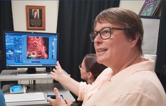 Dr. Ruth Gates explains the benefits of using an advanced microscope to image corals.