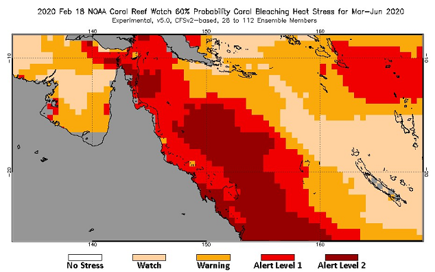 Status of Bleaching Heart Stress on the Great Barrier Reef