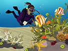 Cartoon image of a coral reef ecosystem