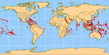 Major coral reef sites are seen as red dots on this world map.