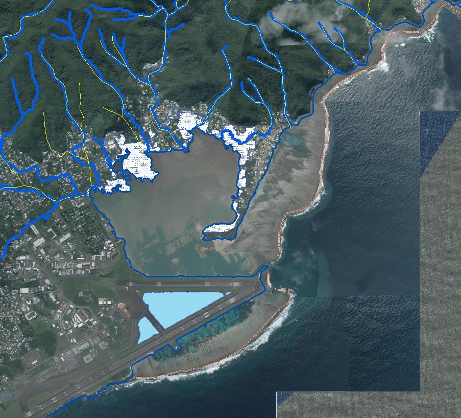 C-CAP land cover and topographic lidar showing new hydrographic data of Pala Lagoon, near Pago Pago Airport