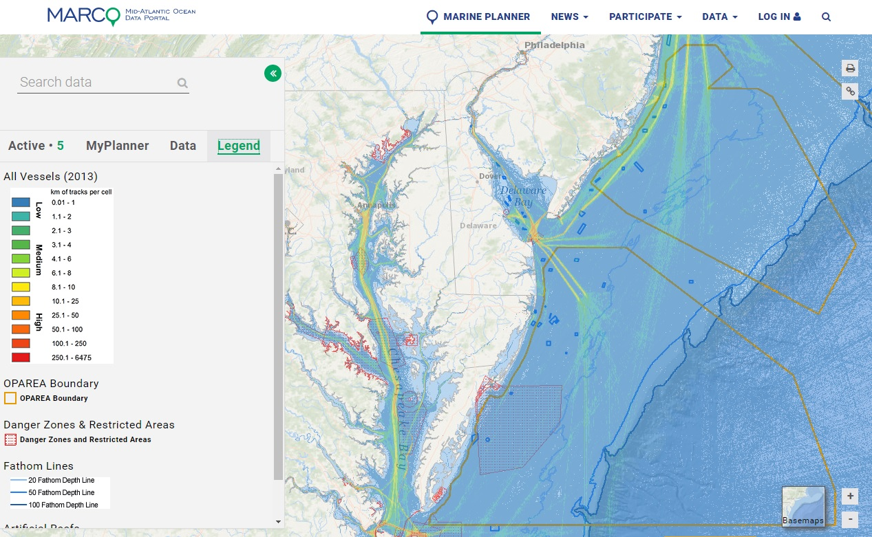 Mid-Atlantic Ocean Data Portal showing offshore boundaries made available through MarineCadastre.gov