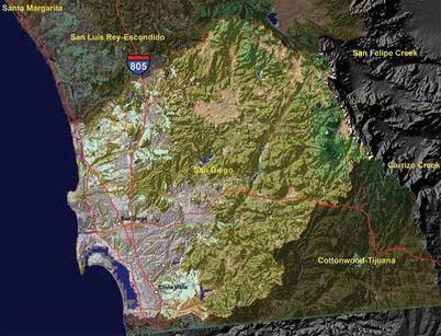 NOAA's C-CAP land data and archived Landsat Satellite Imagery showing the San Diego sub-basin.