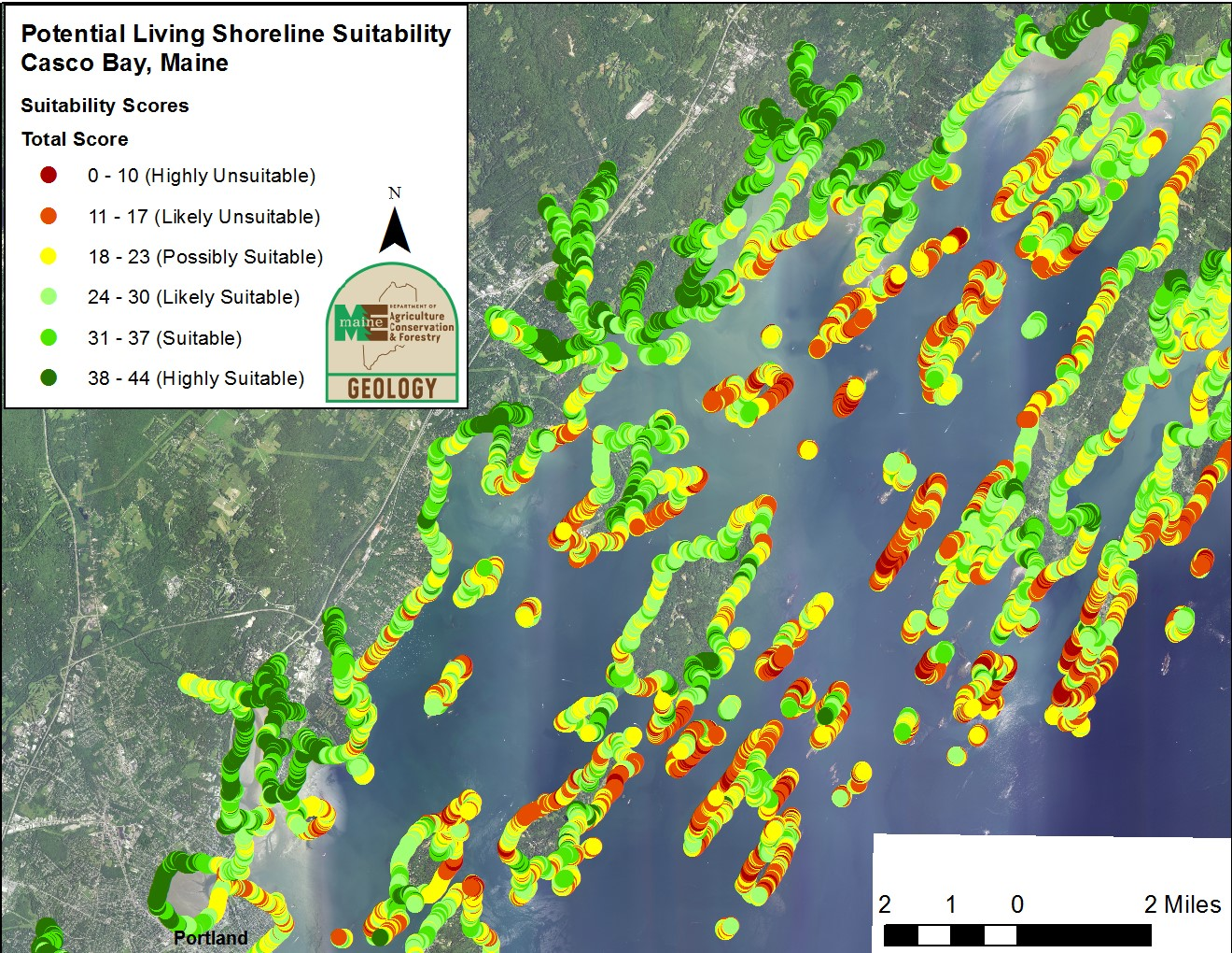 Coastal oblique imagery used to map living shoreline suitability in Casco Bay, Maine