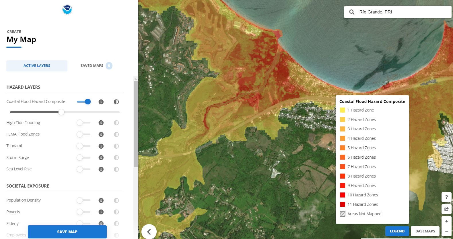 Coastal Flood Exposure Mapper showing high resolution flood data for Puerto Rico