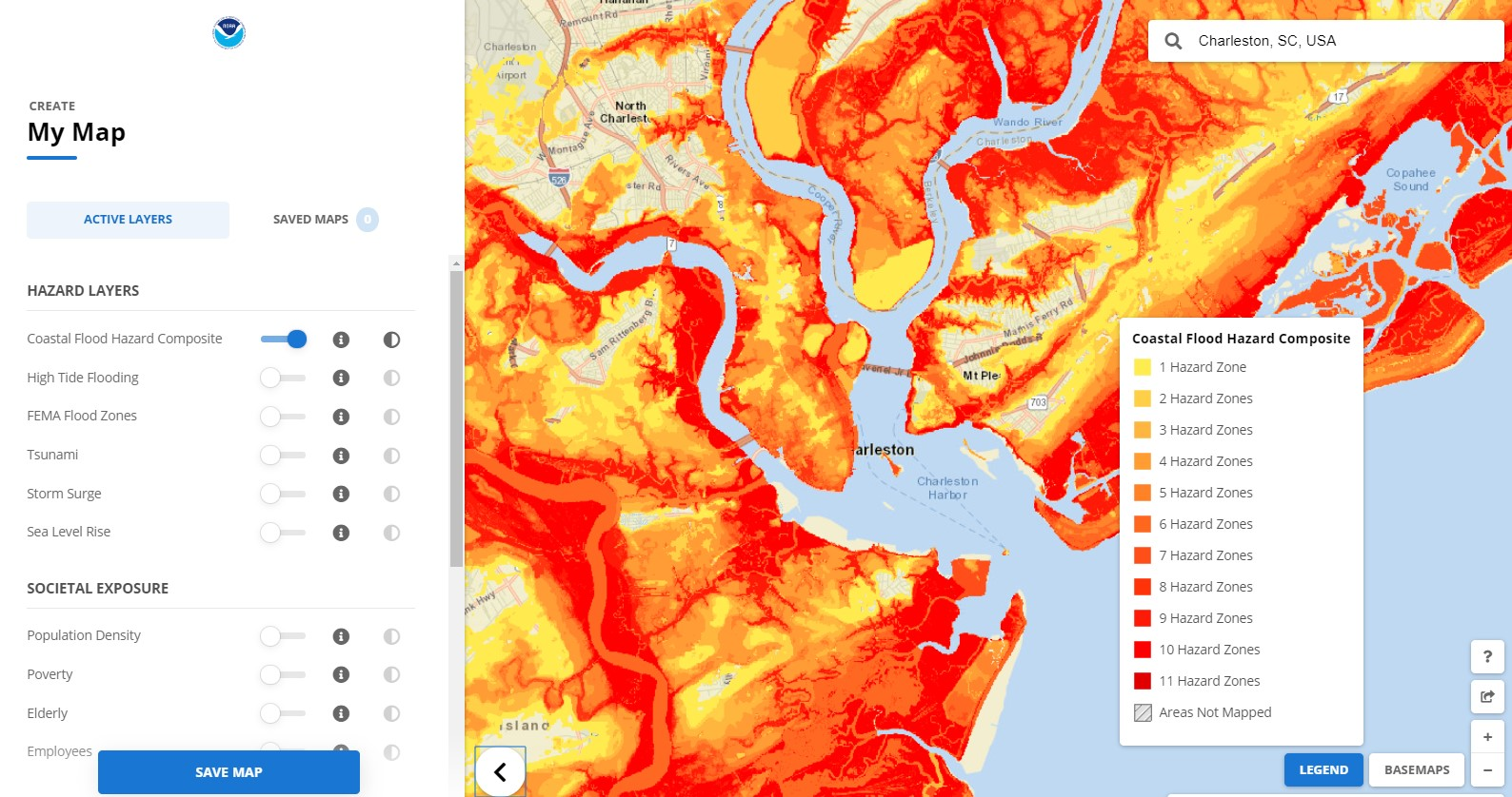 Coastal Flood Exposure Mapper showing multiple flood hazards in Charleston, South Carolina