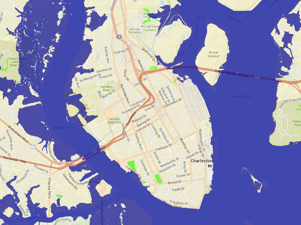 Sea Level Rise Viewer showing imagery of Charleston, South Carolina before coastal inundation