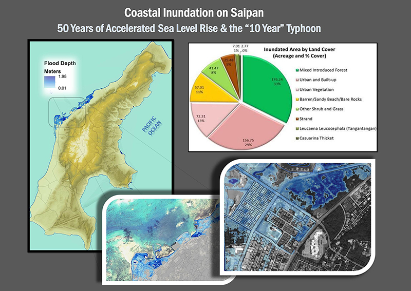 C-CAP High-Resolution Land Cover and Sea Level Rise Viewer showing inundation scenarios in Saipan