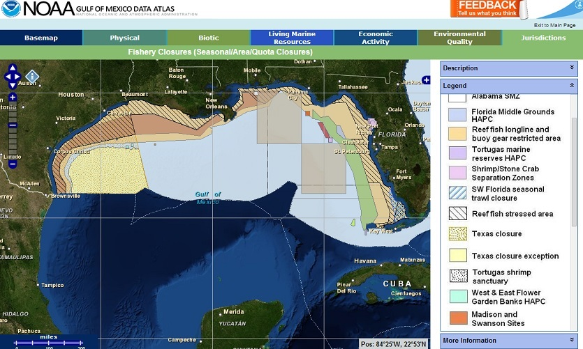 MarineCadastre.gov National Viewer showing fishery boundaries in the Gulf of Mexico