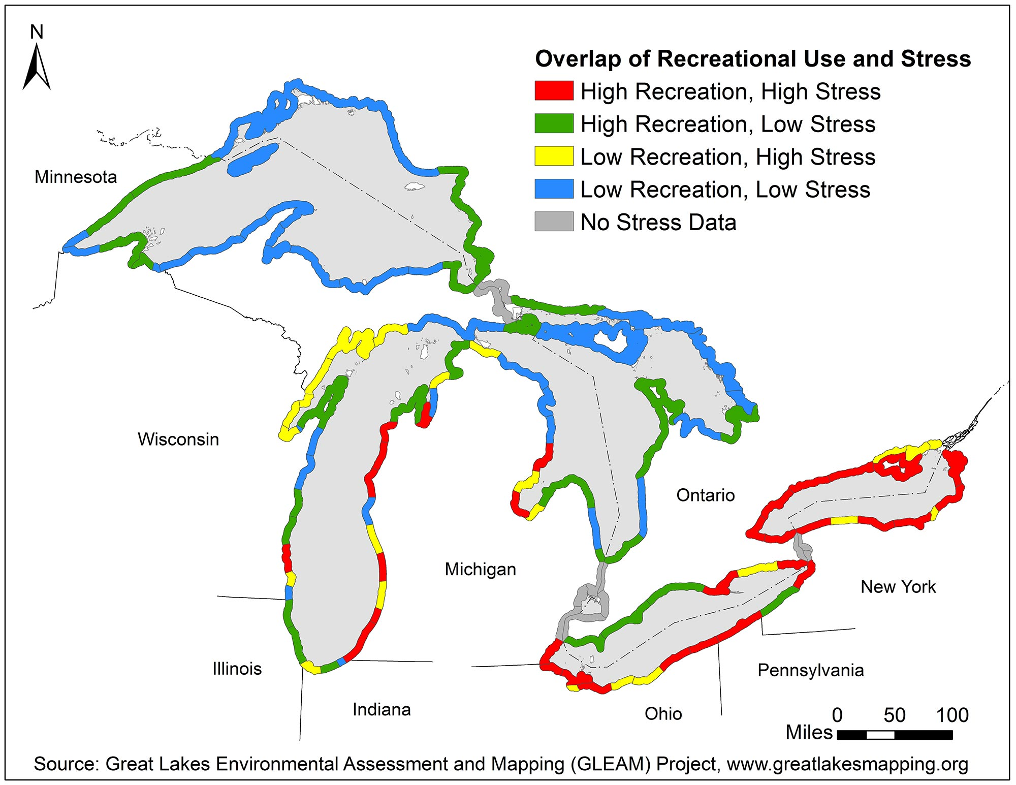Economics: National Ocean Watch data showing cumulative stress for Great Lakes region