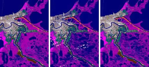 C-CAP Land Cover show conditions before Hurricane Katrina, during the two-week flooded period following the storm, and after flood levels receded