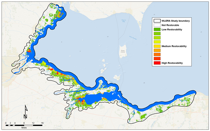 C-CAP Regional Land Cover and Change showing data for the western Lake Erie basin
