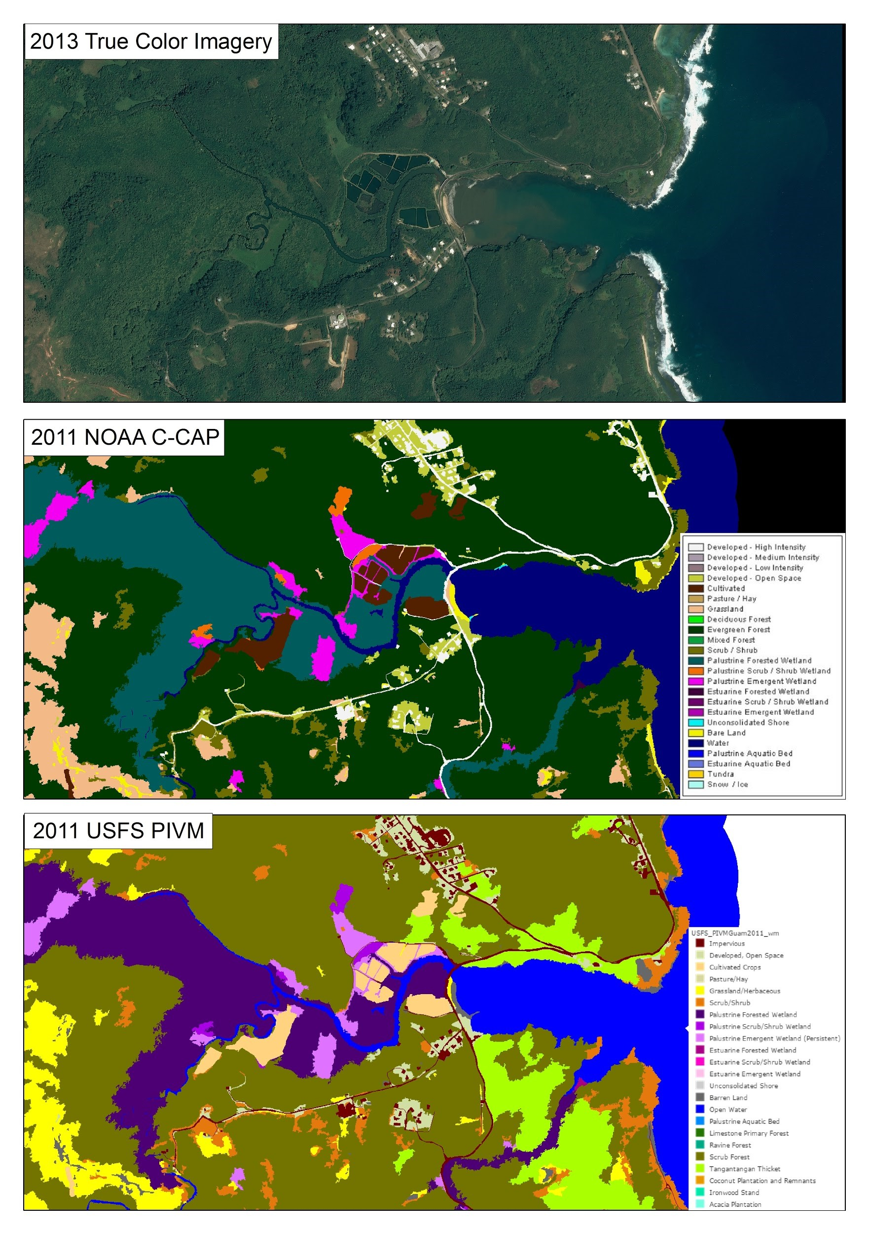Aerial imagery and C-CAP High-Resolution Land Cover of Talofofo Bay, Guam