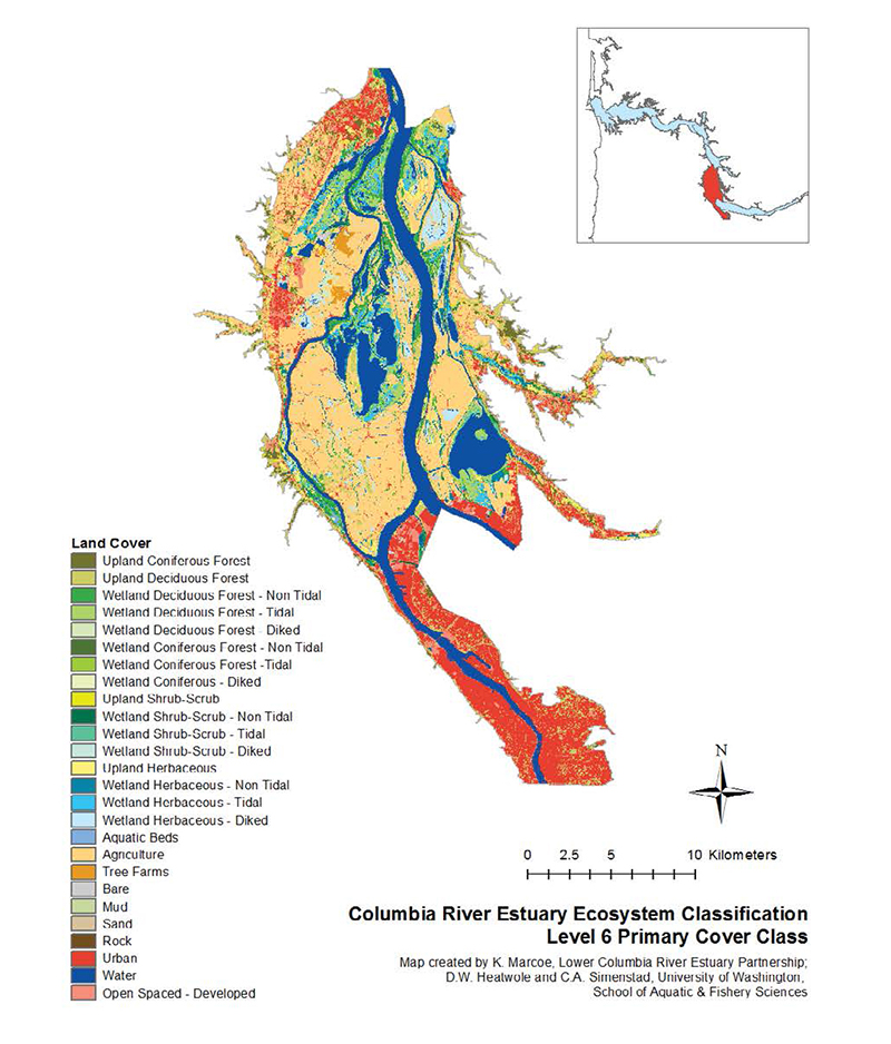 C-CAP High-Resolution Land Cover and Landsat Satellite Imagery were used to map the Lower Columbia River Estuary