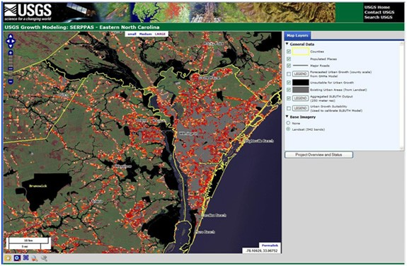 USGS National Land Cover Database and NOAA Coastal Change Analysis Program data show detail of urban growth forecasts for Wilmington, North Carolina