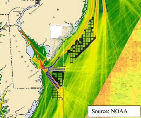 The U.S. Coast Guard used the MarineCadastre.gov National Viewer to generate an AIS heat map of the Delaware Bay