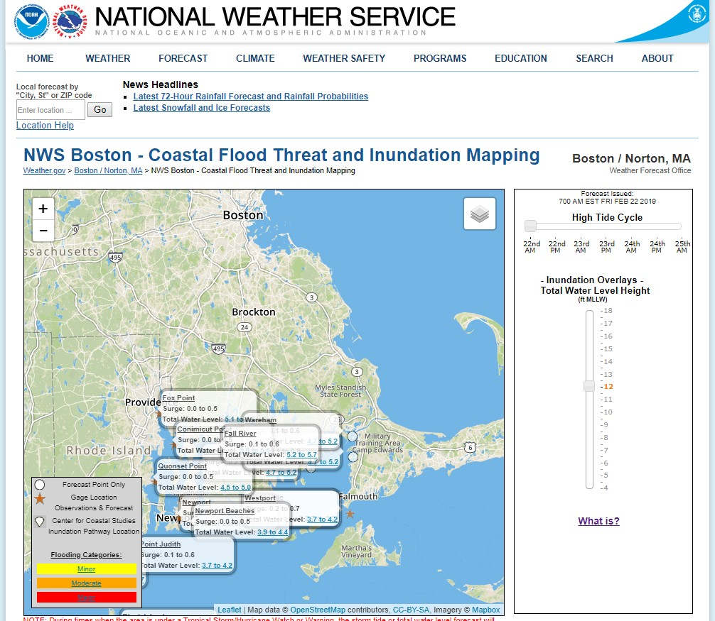 Scituate, Massachusetts uses Coastal Inundation Mapping to see the possible extent of flooding for a specific storm event