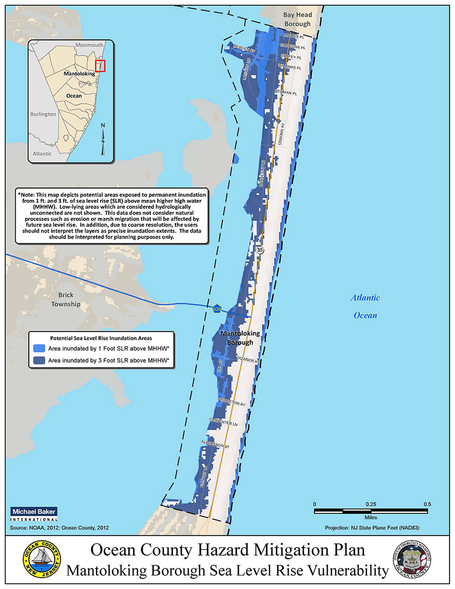 Ocean County, New Jersey uses Sea Level Rise Viewer to map areas of vulnerability for their Hazard Mitigation Plan
