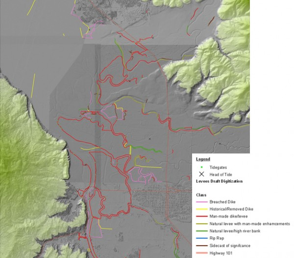 Coastal Topobathy and Topographic Lidar combined with Historical Aerial Imagery showing levees of Tillamook Bay, Oregon