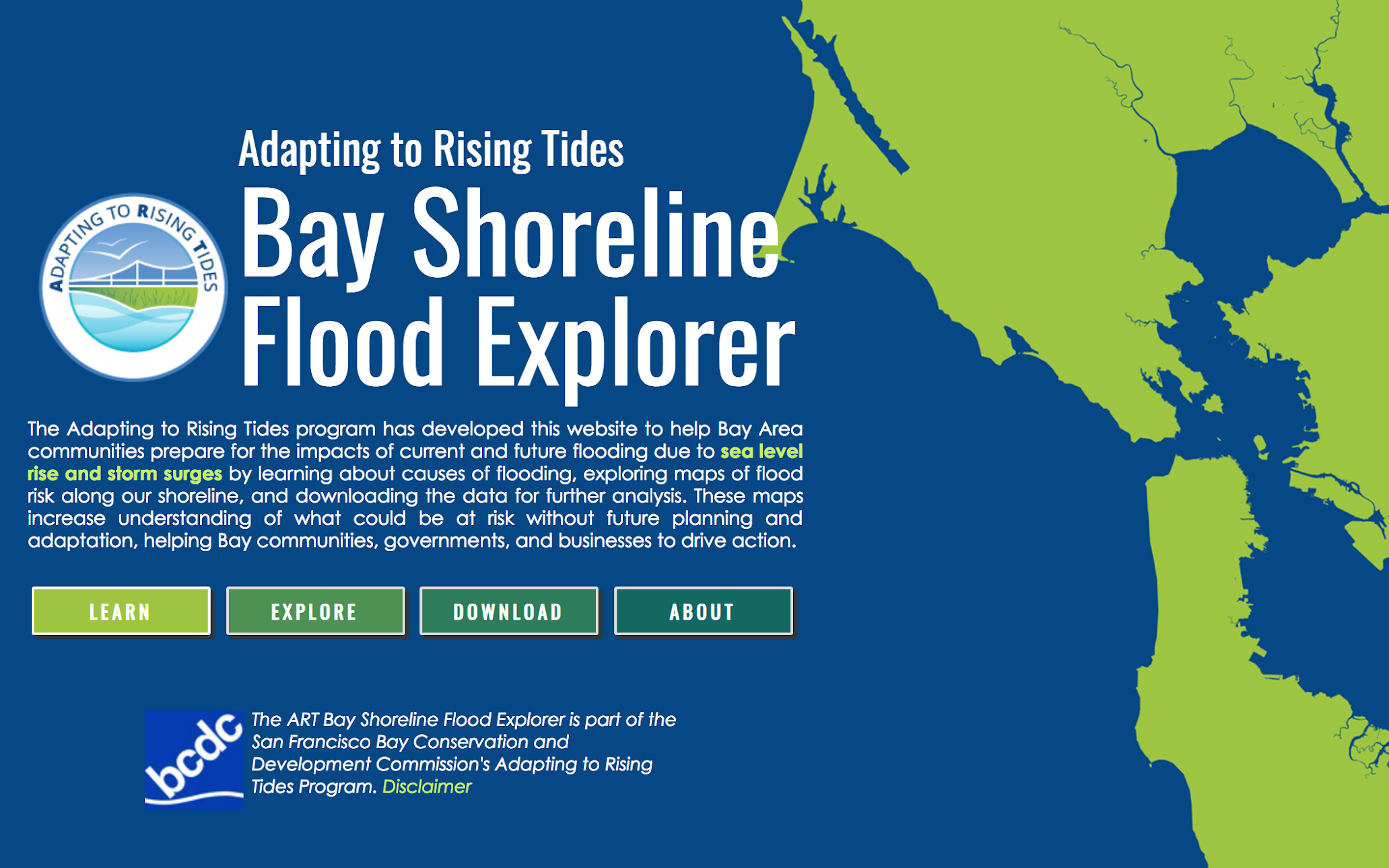 The Bay Shoreline Flood Explorer website borrowed some of the intuitive user-interface elements of the NOAA Sea Level Rise Viewer
