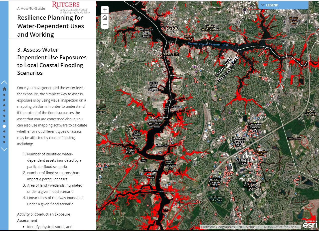 Guide advises communities to use ENOW Explorer and Coastal Flood Exposure Mapper to understand their water-dependent uses and coastal flood hazards