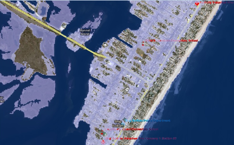 Sea Level Rise Viewer helps decision makers assess the vulnerability of their communities to sea level rise and coastal inundation in New Jersey