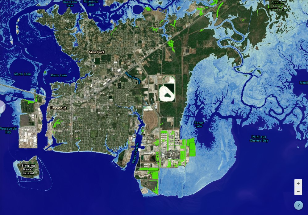 The Jackson County Utility Authority facility used the Sea Level Rise Viewer to identify a location for the new wastewater treatment facility