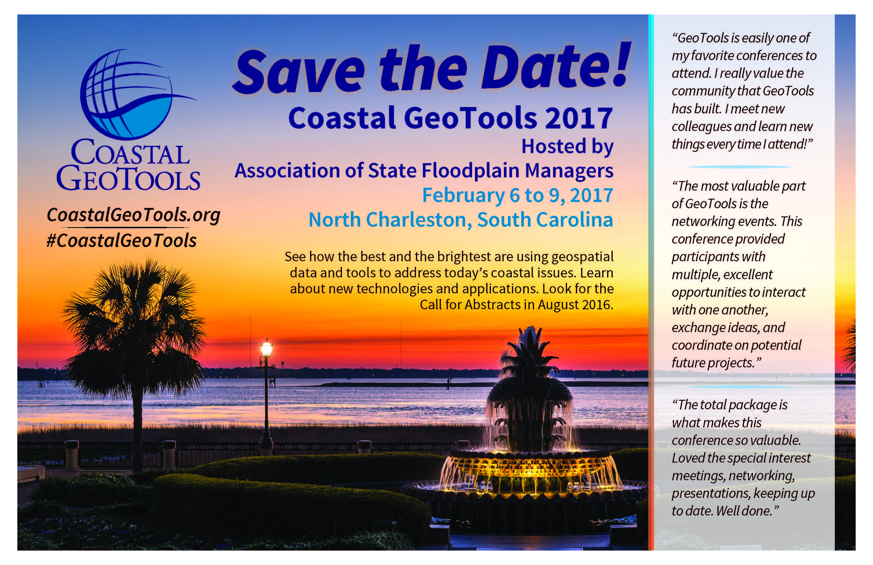 save the date coastal geotools 2017 in charleston south carolina