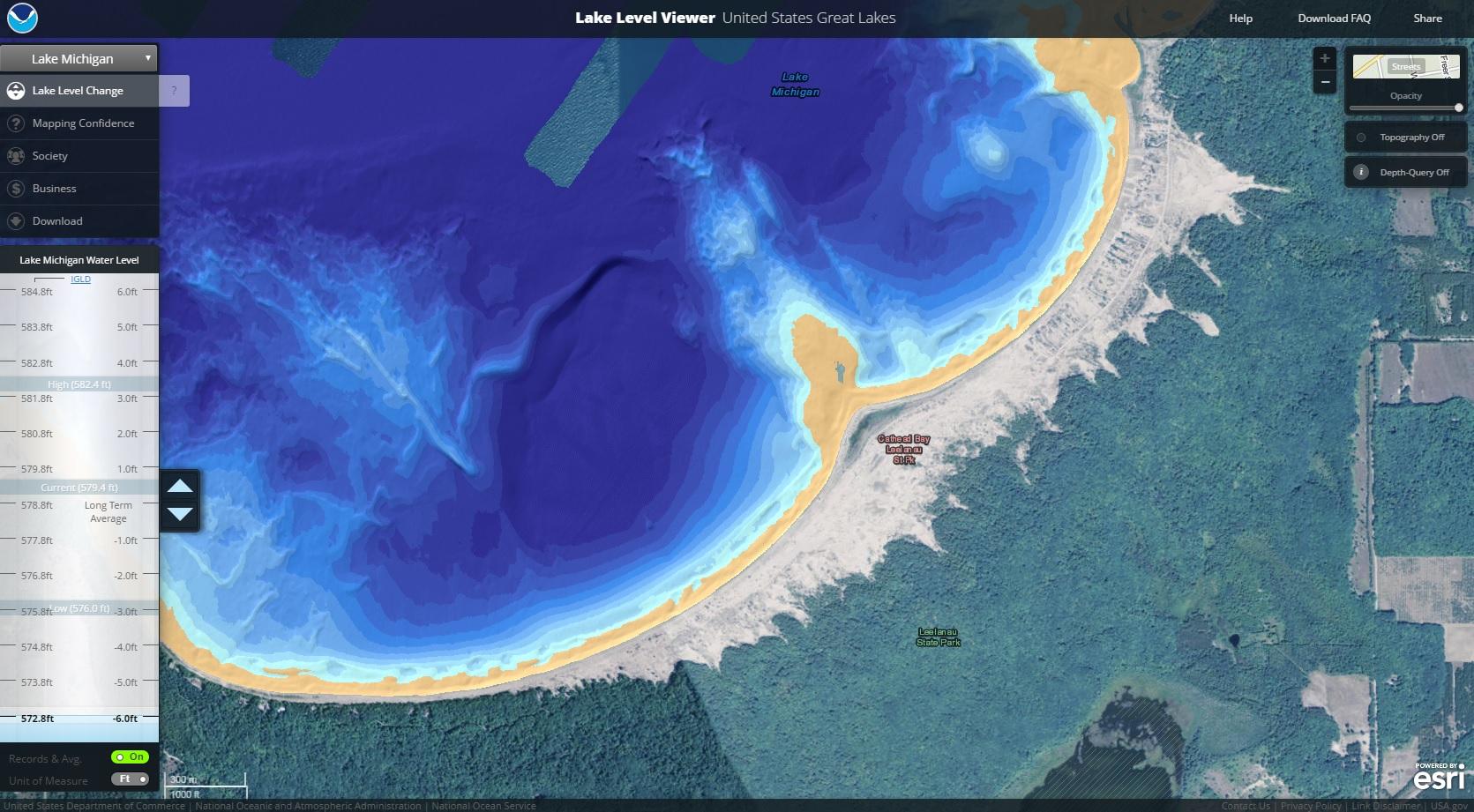 Lake Level Viewer US Great Lakes - Us map great lakes