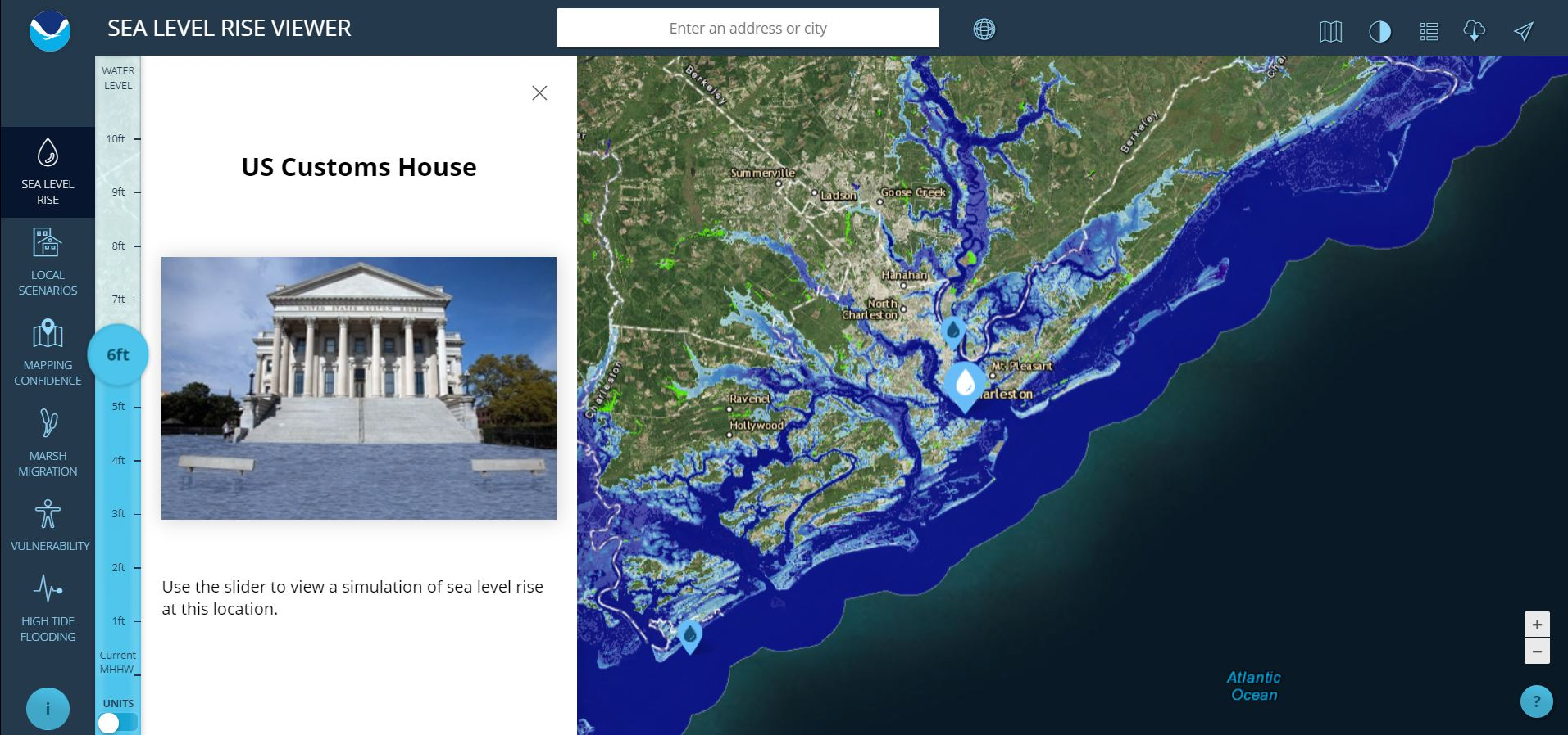 Sea Level Rise Viewer - Projected sea level rise map