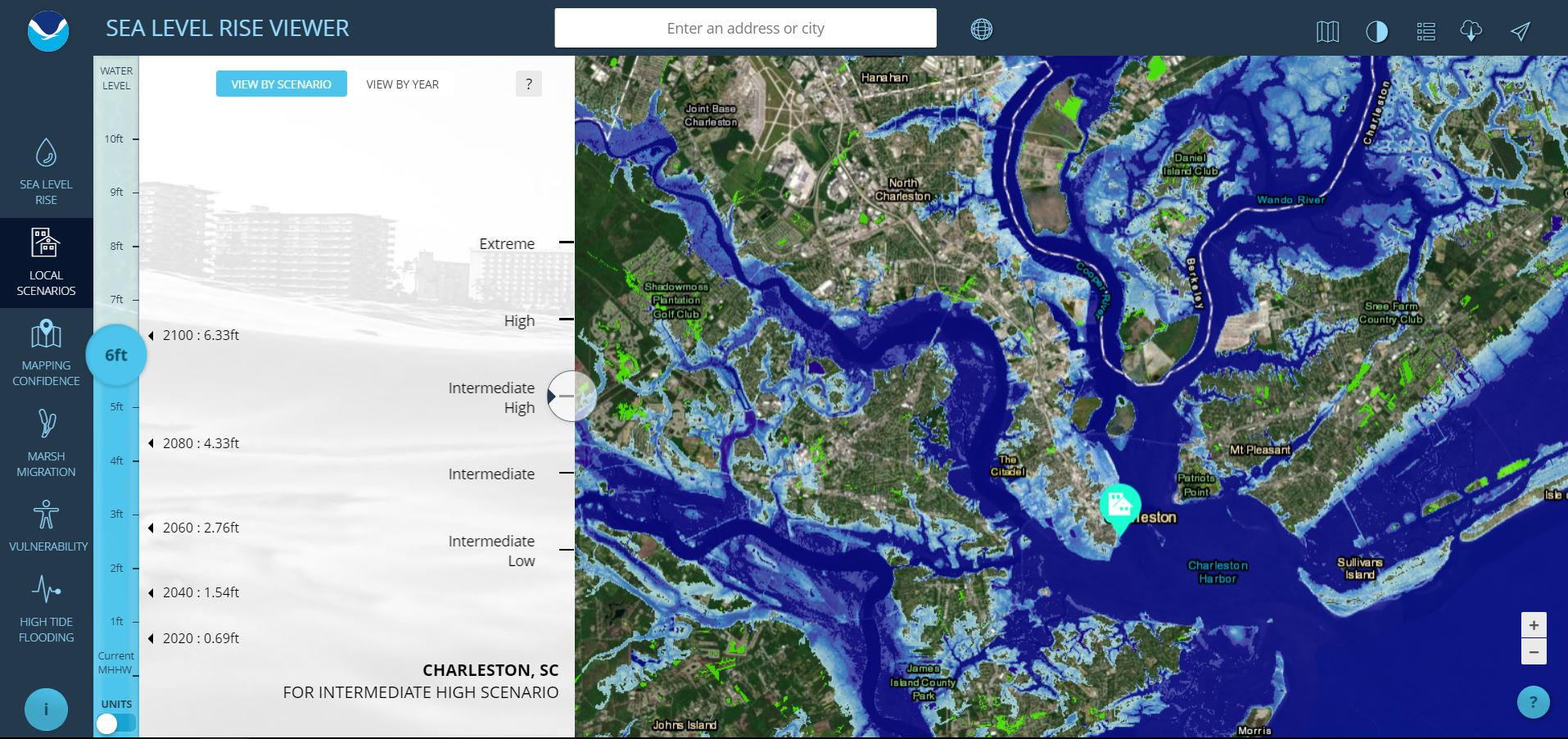 Sea Level Rise Viewer - Water rising map