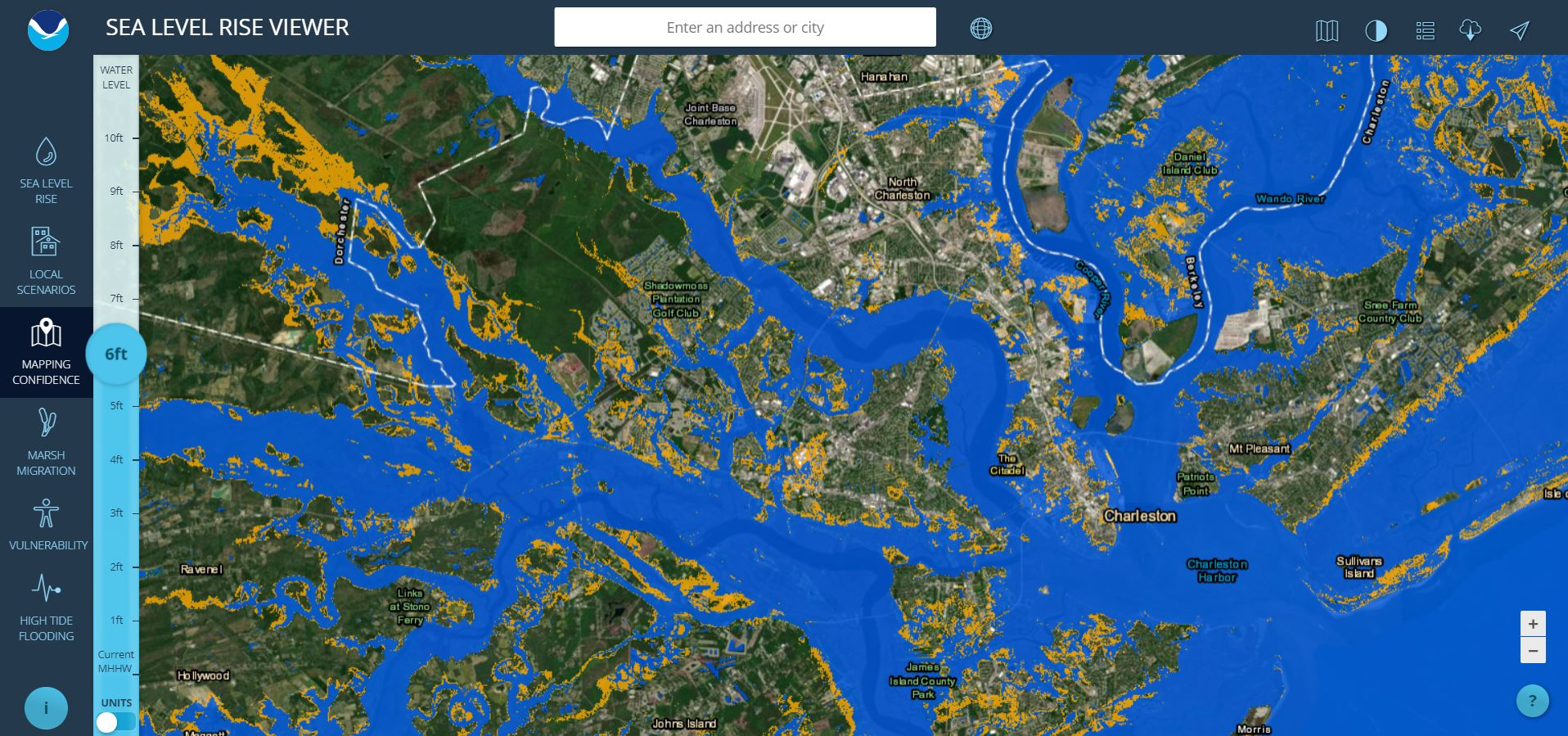 Sea Level Rise Viewer - Altitude above sea level map