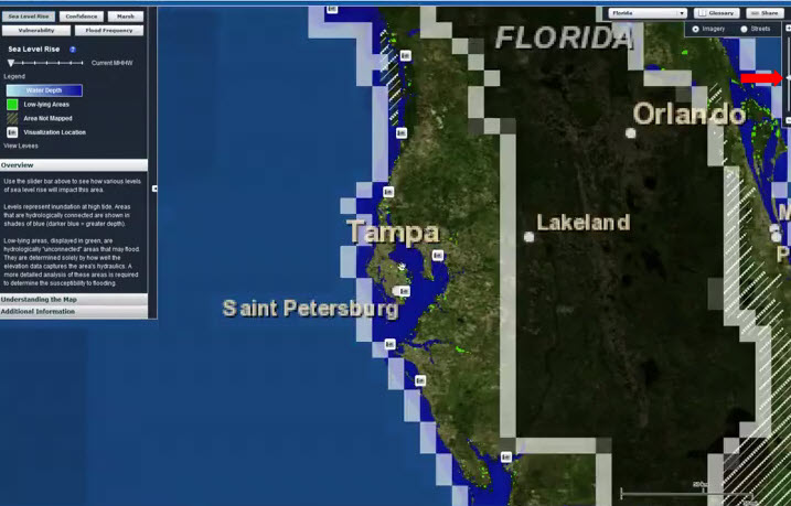 Screenshot from Sea Level Rise Viewer Tips for the First Time User Video