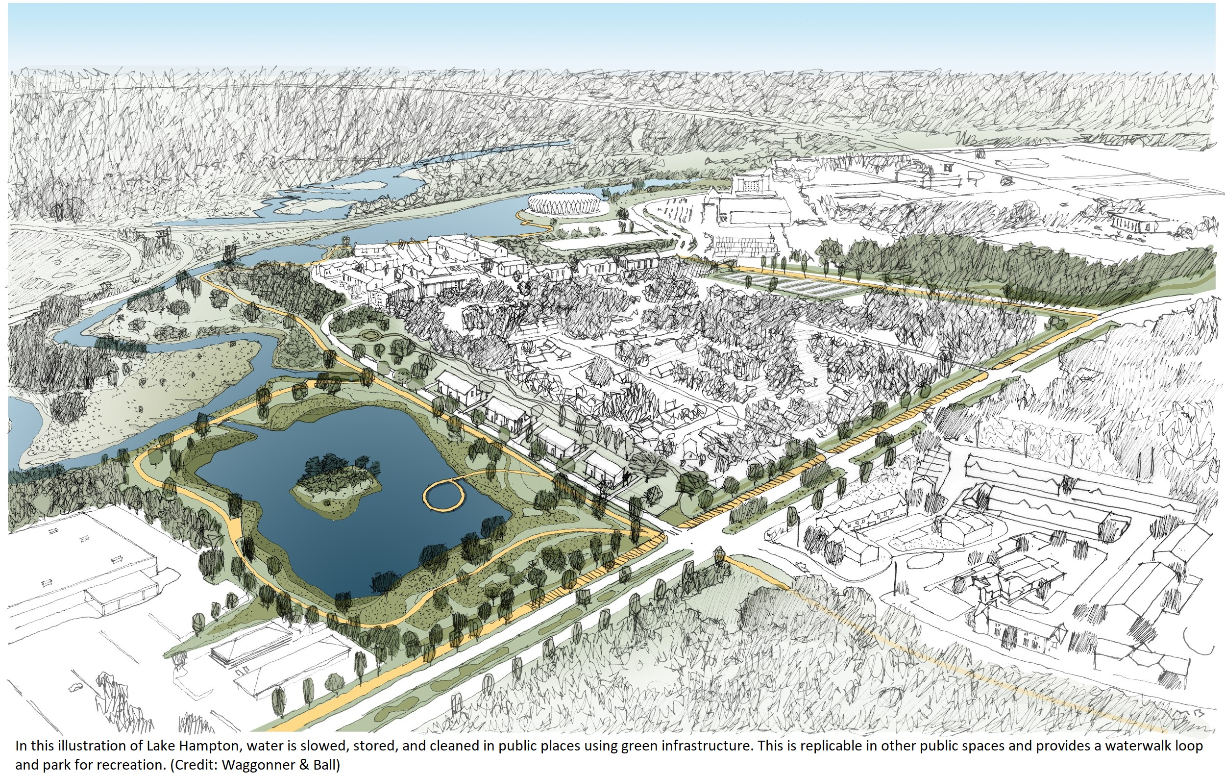 Architectural illustration of aerial view of a community with a park. The park has a large body of water with an island in the center.