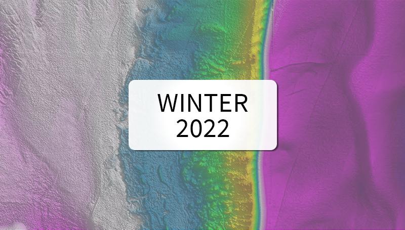 Lidar digital elevation model of stamp sands on the coastline of Michigan. Available Winter 2021.