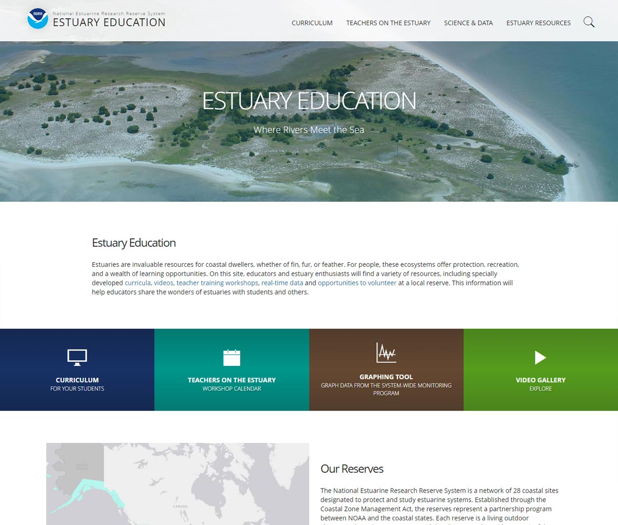 Screenshot of newly redesigned version of Estuary Education website