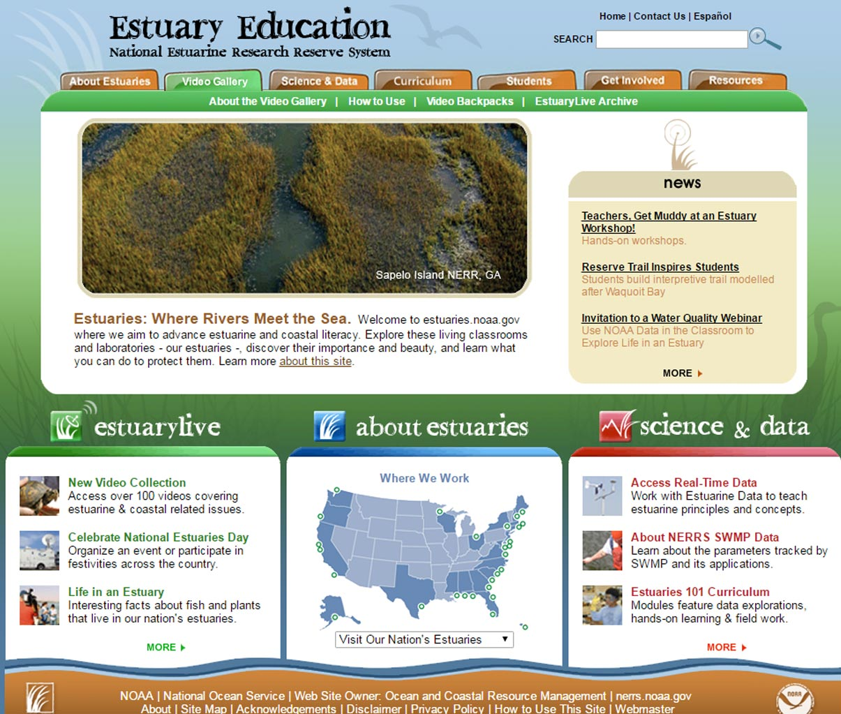 Screenshot of previous version of Estuary Education website