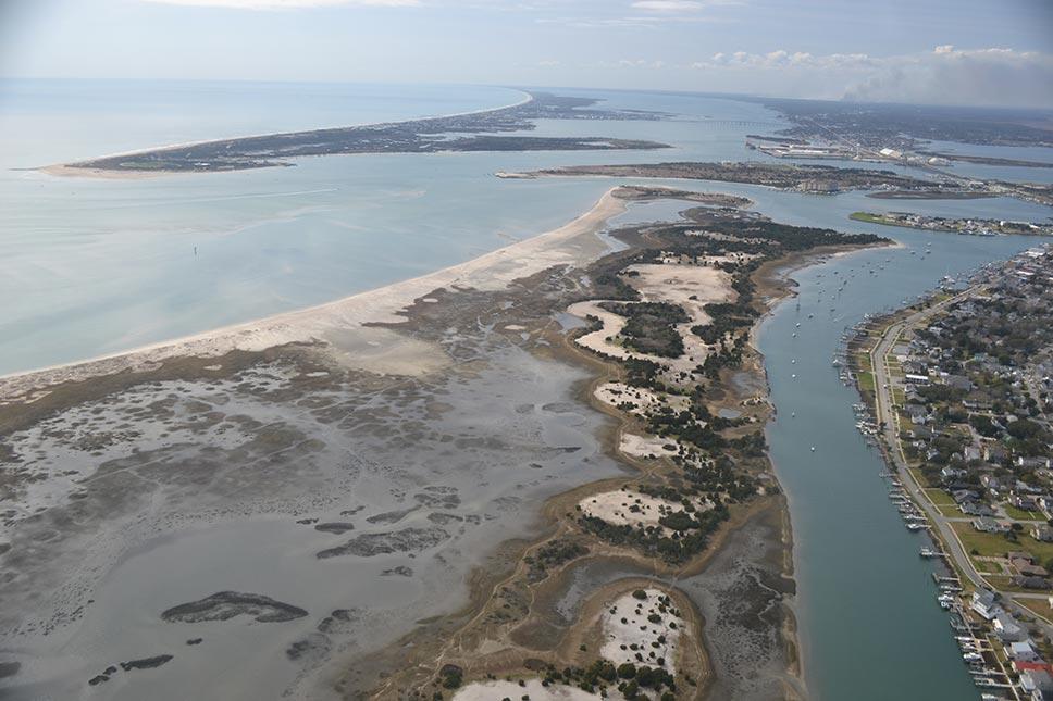 Aerial view of estuary reserve