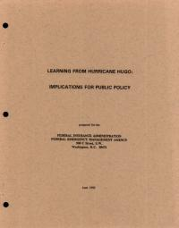 [graphic of cover of report-Learning from Hurricane Hugo Implications for Public Policy]