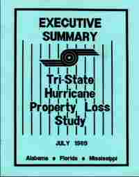 [graphic of cover of report-Executive Summary Tri State Hurricane Property Loss Study Alabama, Florida, and Mississippi]