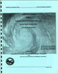[graphic of cover of report-State of Florida Model Hurricane Evacuation Shelter Selection Guidelines Student Manual]
