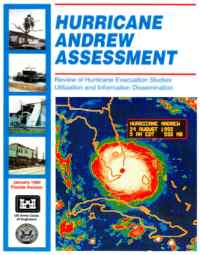 [graphic of cover of report-Hurricane Andrew Assessment: Review of Hurricane Evacuation Studies Utilization and Information Dissemination]