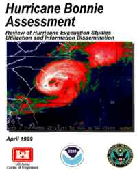 [graphic of cover of report-Hurricane Bonnie Assessment: Review of Hurricane Evacuation Studies Utilization and Information Dissemination]