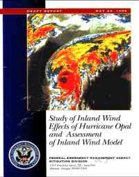 [graphic of cover of report-Draft Report: Study of Inland Wind Effects of Hurricane Opal and Assessment of Inland Wind Model]